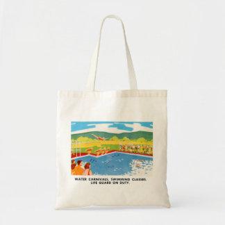Retro Vintage Kitsch 60s Resort Ad Brochure Art Budget Tote Bag