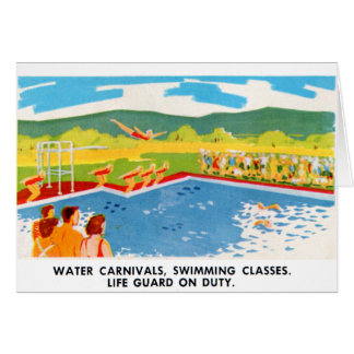 Retro Vintage Kitsch 60s Resort Ad Brochure Art Card