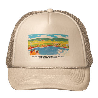 Retro Vintage Kitsch 60s Resort Ad Brochure Art Trucker Hat