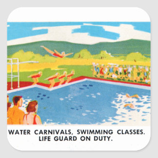 Retro Vintage Kitsch 60s Resort Ad Brochure Art Square Sticker