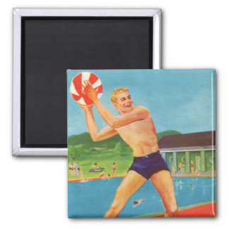 Retro Vintage Kitsch 60s Resort Ad Brochure Beach 2 Inch Square Magnet