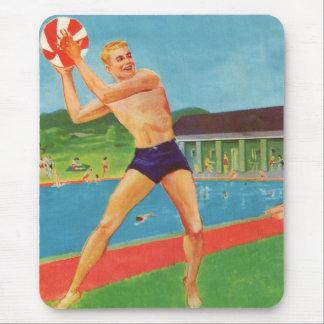 Retro Vintage Kitsch 60s Resort Ad Brochure Beach Mouse Pad