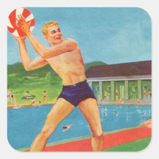 Retro Vintage Kitsch 60s Resort Ad Brochure Beach Square Sticker