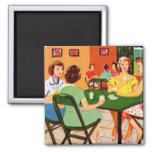 Retro Vintage Kitsch 60s Resort Ad Brochure Cards 2 Inch Square Magnet