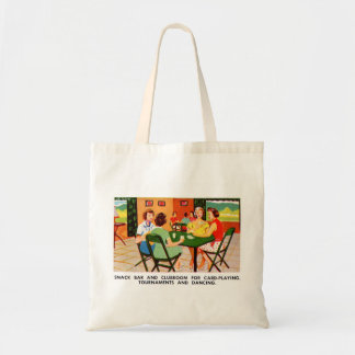 Retro Vintage Kitsch 60s Resort Ad Brochure Cards Budget Tote Bag