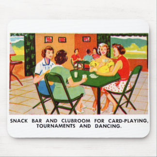 Retro Vintage Kitsch 60s Resort Ad Brochure Cards Mouse Pad