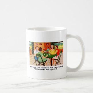 Retro Vintage Kitsch 60s Resort Ad Brochure Cards Classic White Coffee Mug