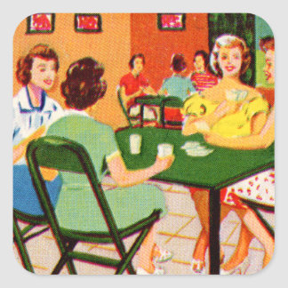 Retro Vintage Kitsch 60s Resort Ad Brochure Cards Square Sticker