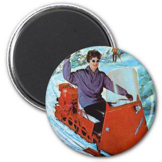 Retro Vintage Kitsch 60s Snowmobile Snowmachine Ad 2 Inch Round Magnet
