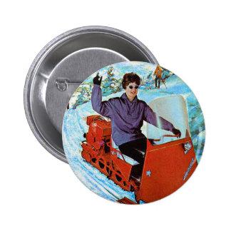 Retro Vintage Kitsch 60s Snowmobile Snowmachine Ad Pinback Button