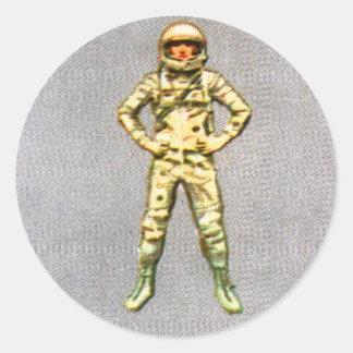 Retro Vintage Kitsch 60s Space Astronaut 6' Man Classic Round Sticker