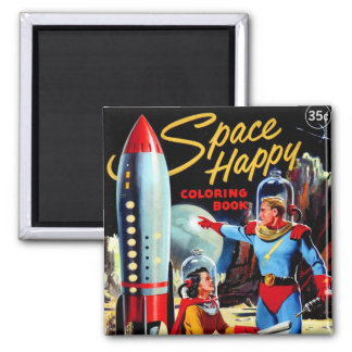 Retro Vintage Kitsch 60s Space Happy Coloring Book 2 Inch Square Magnet