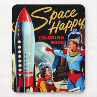 Retro Vintage Kitsch 60s Space Happy Coloring Book Mouse Pad