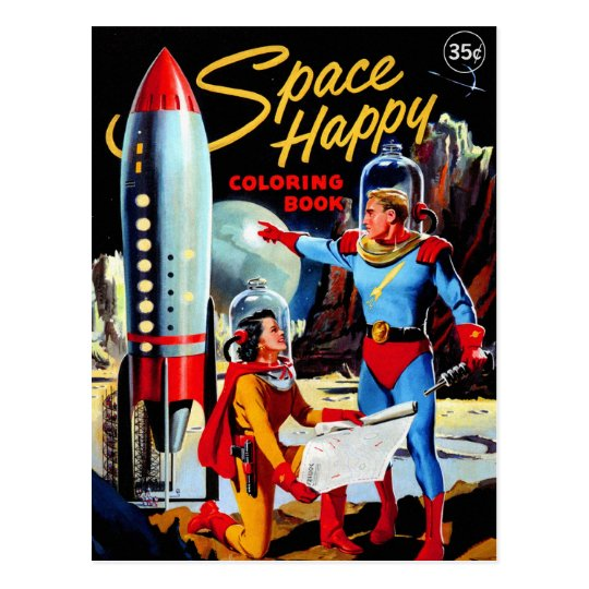 Retro Vintage Kitsch 60s Space Happy Coloring Book ...