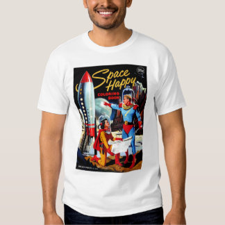Retro Vintage Kitsch 60s Space Happy Coloring Book T Shirt