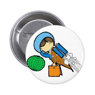 Retro Vintage Kitsch 60s Space Office Traveler Man Pinback Button