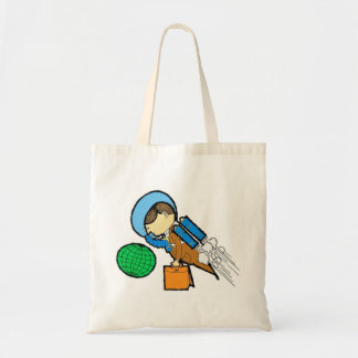 Retro Vintage Kitsch 60s Space Office Traveler Man Tote Bag