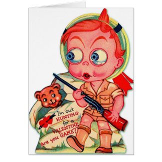 Retro Vintage Kitsch 60s Valentine I'm Out Hunting Greeting Card