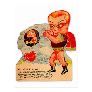 Retro Vintage Kitsch 60s Valentine Magic Ray Postcard