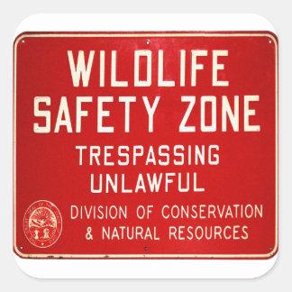 Retro Vintage Kitsch 60s Wildlife Safety Zone Sign Square Sticker