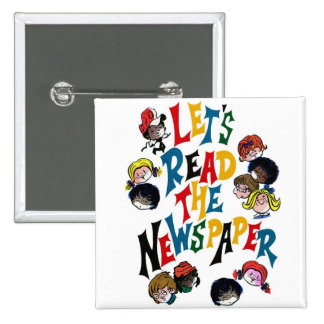 Retro Vintage Kitsch 70s Let's Read The Newspaper Buttons