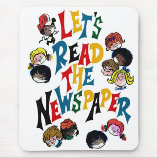 Retro Vintage Kitsch 70s Let's Read The Newspaper Mouse Pad