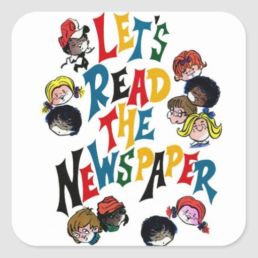 Retro Vintage Kitsch 70s Let's Read The Newspaper Square Sticker