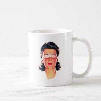 Retro Vintage Kitsch Ad 50s Women Blindfolded Coffee Mug