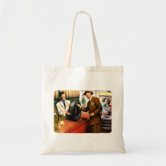 Retro Vintage Kitsch Ad Advertisment Swell Tires Budget Tote Bag