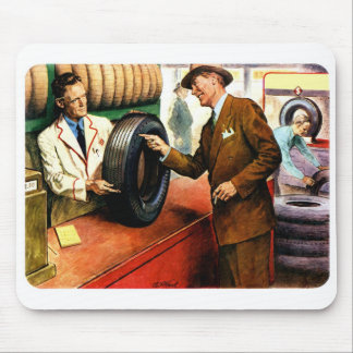 Retro Vintage Kitsch Ad Advertisment Swell Tires Mouse Pad