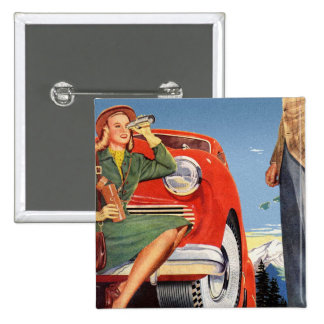 Retro Vintage Kitsch Ad Auto Woman Sightseeing Button