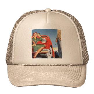 Retro Vintage Kitsch Ad Auto Woman Sightseeing Trucker Hat