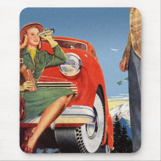 Retro Vintage Kitsch Ad Auto Woman Sightseeing Mouse Pad