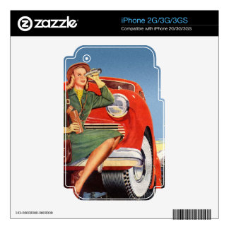 Retro Vintage Kitsch Ad Auto Woman Sightseeing Skin For The iPhone 3GS