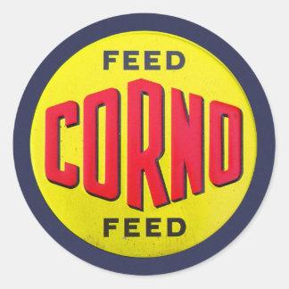 Retro Vintage Kitsch Ad Corno Feed Farm Sign Classic Round Sticker