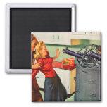Retro Vintage Kitsch Ad Kitchen Battle Fridge Magnets