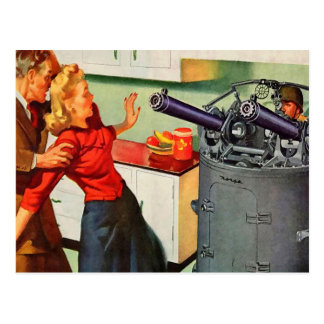 Retro Vintage Kitsch Ad Kitchen Battle Postcard