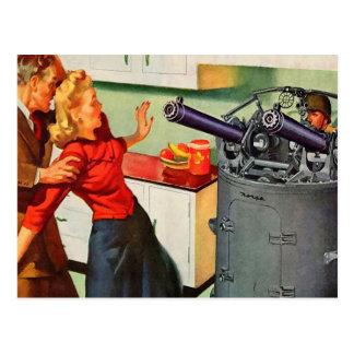 Retro Vintage Kitsch Ad Kitchen Battle Postcard