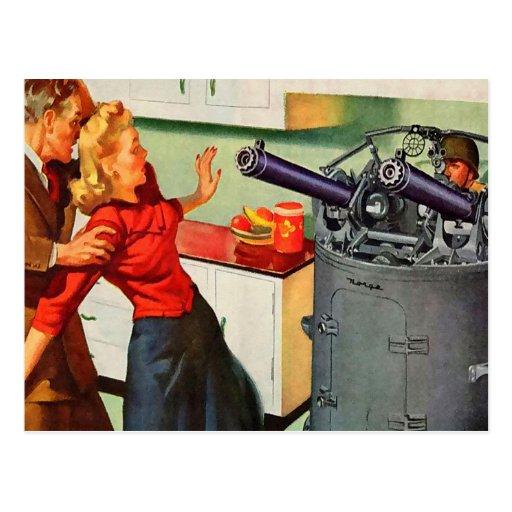 Retro Vintage Kitsch Ad Kitchen Battle Postcards