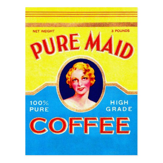 Retro Vintage Kitsch Ad Pure Made Coffee Can Postcard