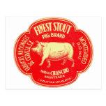 Retro Vintage Kitsch Advertising Finest Pig Stout Postcard