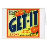 Retro Vintage Kitsch Advertising Fruit Art Get It Card