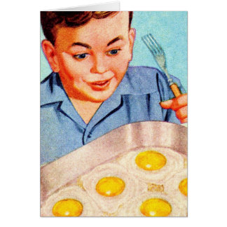 Retro Vintage Kitsch Advertisment Fried Eggs! Card