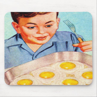 Retro Vintage Kitsch Advertisment Fried Eggs! Mouse Pads