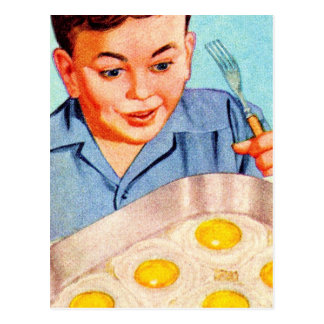 Retro Vintage Kitsch Advertisment Fried Eggs! Post Cards