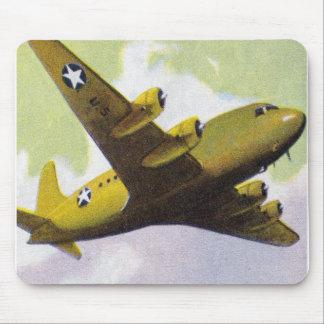 Retro Vintage Kitsch Airplane Planes C-54 Bomber Mouse Pad