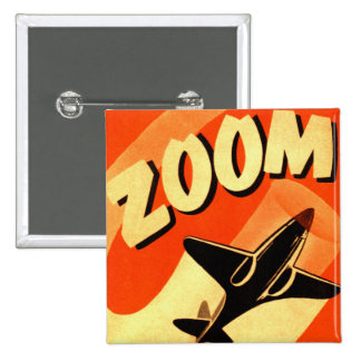 Retro Vintage Kitsch Airplane Planes Zoom 2 Inch Square Button