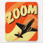 Retro Vintage Kitsch Airplane Planes Zoom Mouse Pad