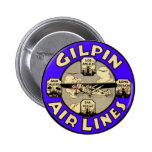 Retro Vintage Kitsch Airplanes Gilpin Airlines Pinback Buttons