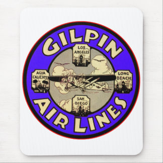 Retro Vintage Kitsch Airplanes Gilpin Airlines Mouse Pad